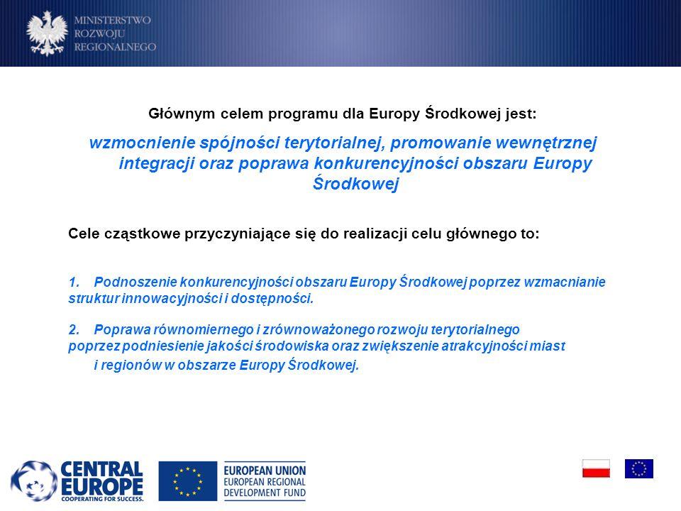 Głównym celem programu dla Europy Środkowej jest: wzmocnienie spójności terytorialnej, promowanie wewnętrznej integracji oraz poprawa konkurencyjności