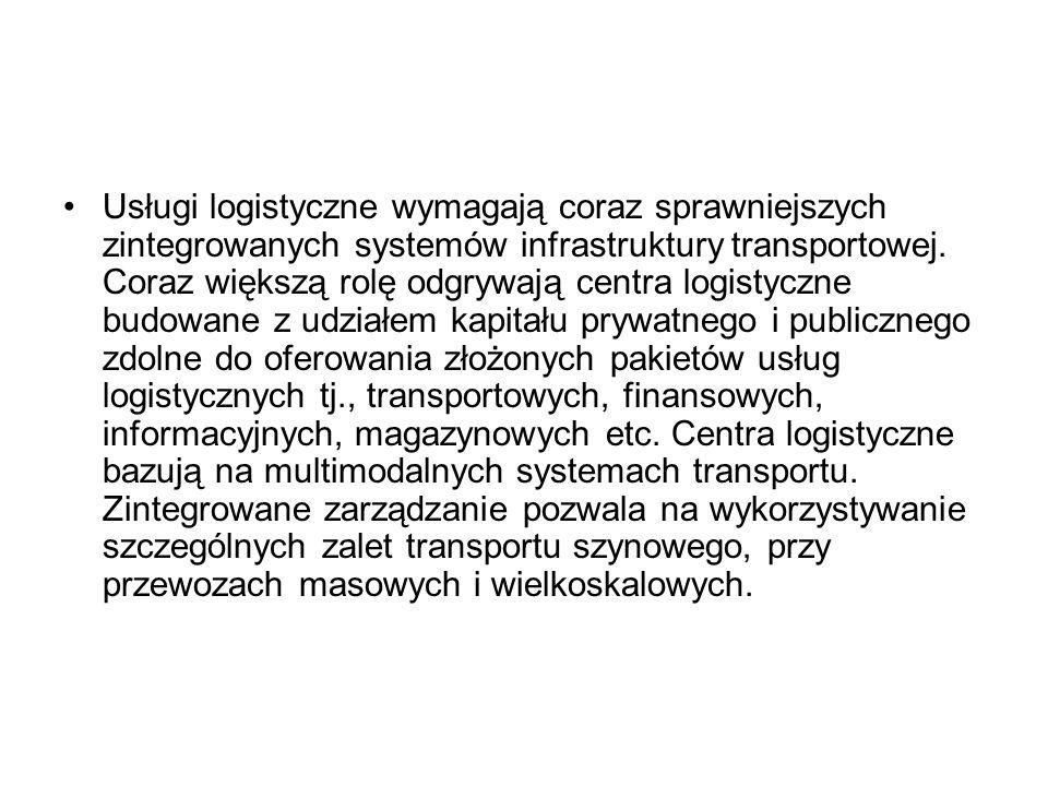 Usługi logistyczne wymagają coraz sprawniejszych zintegrowanych systemów infrastruktury transportowej. Coraz większą rolę odgrywają centra logistyczne