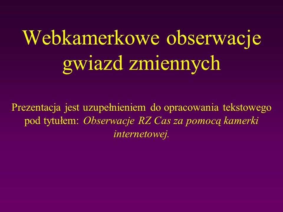 Webkamerkowe obserwacje gwiazd zmiennych Prezentacja jest uzupełnieniem do opracowania tekstowego pod tytułem: Obserwacje RZ Cas za pomocą kamerki int