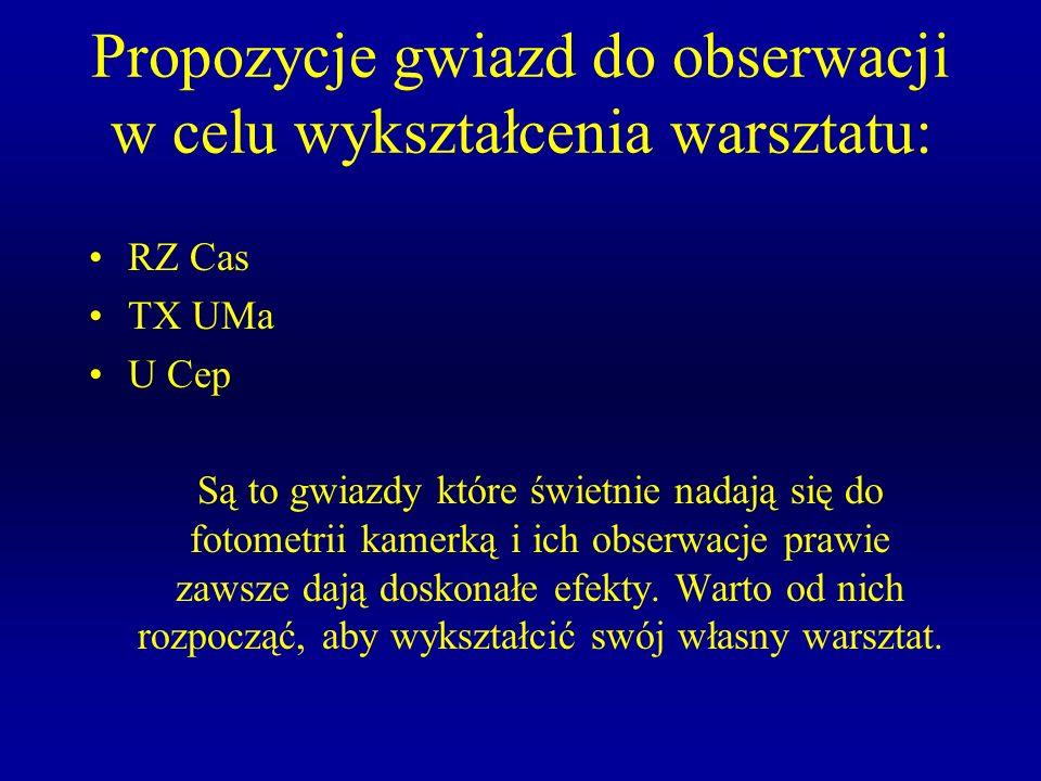 Propozycje gwiazd do obserwacji w celu wykształcenia warsztatu: RZ Cas TX UMa U Cep Są to gwiazdy które świetnie nadają się do fotometrii kamerką i ic