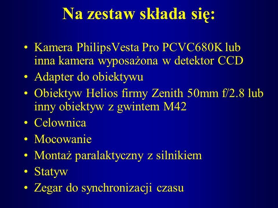 Na zestaw składa się: Kamera PhilipsVesta Pro PCVC680K lub inna kamera wyposażona w detektor CCD Adapter do obiektywu Obiektyw Helios firmy Zenith 50m