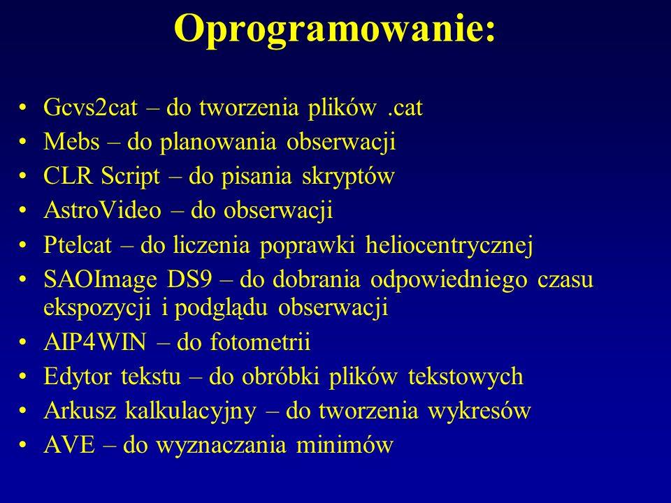 Oprogramowanie: Gcvs2cat – do tworzenia plików.cat Mebs – do planowania obserwacji CLR Script – do pisania skryptów AstroVideo – do obserwacji Ptelcat