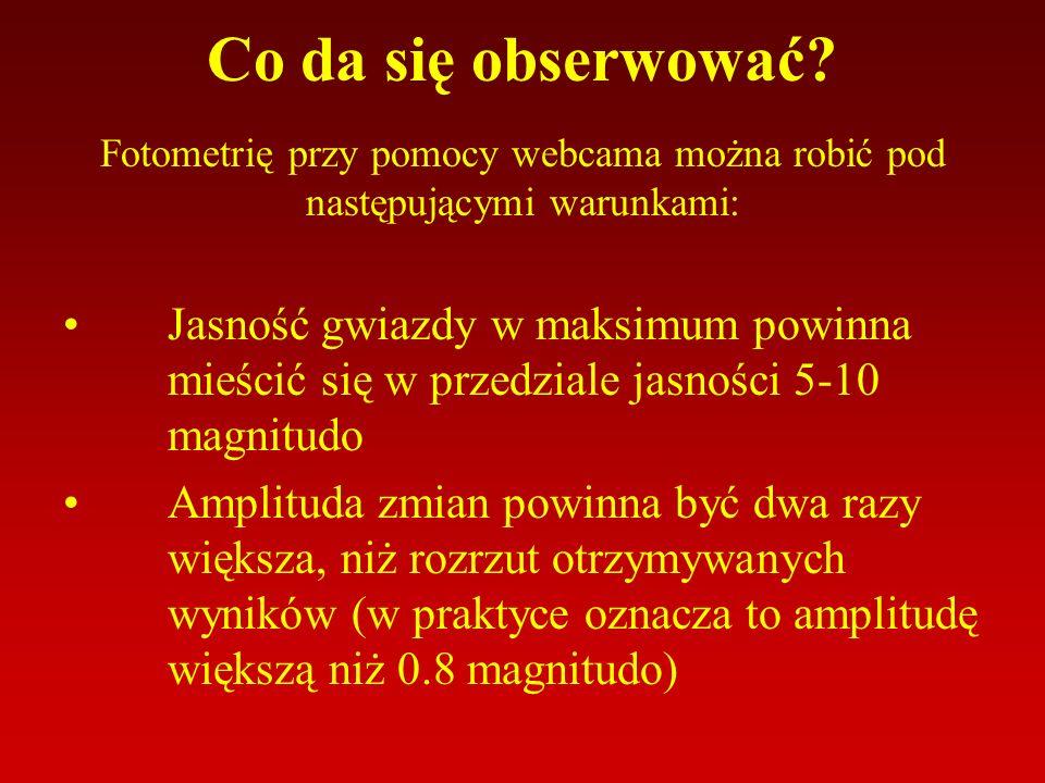 Aby wiedzieć które gwiazdy spełniają powyższe warunki warto zajrzeć na stronę www.as.wsp.krakow.pl/ephem/ Znajdują się tam efemerydy gwiazd zmiennych, zaćmieniowych.