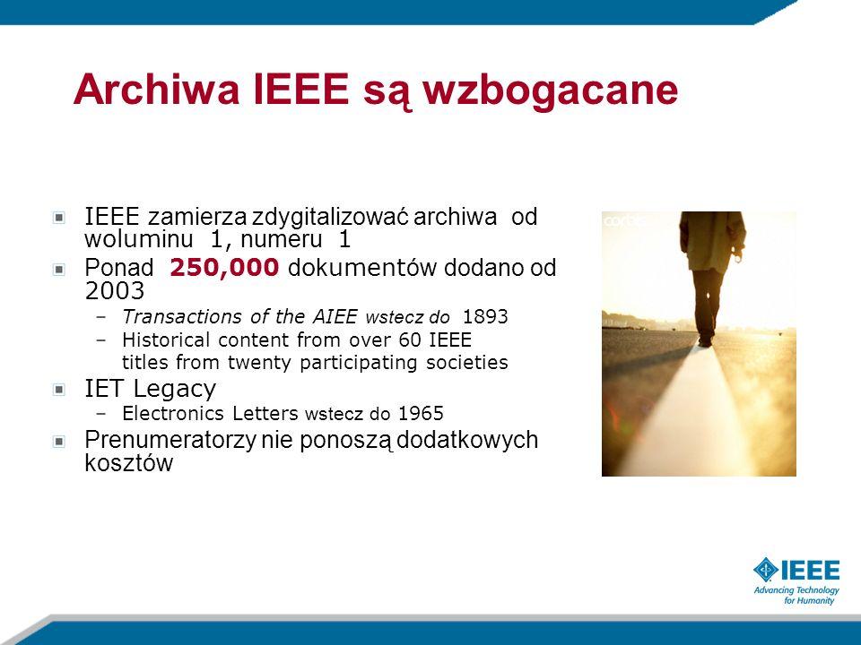 IEEE zamierza zdygitalizować archiwa od w olum inu 1, numeru 1 Ponad 250,000 d o k ument ów dodano od 2003 –Transactions of the AIEE wstecz do 1893 –H