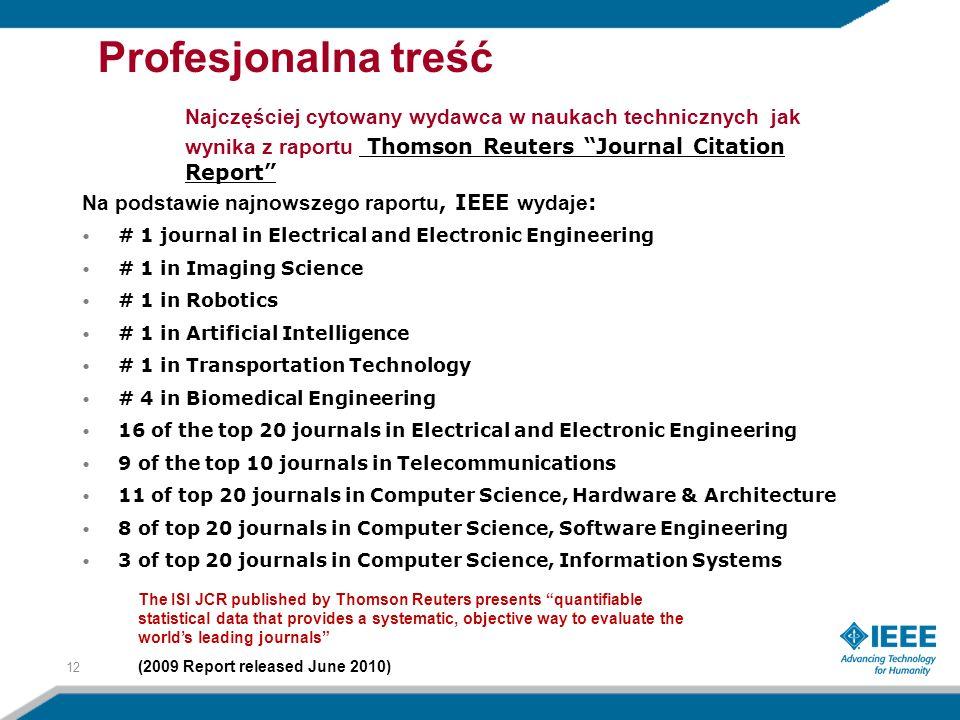 Na podstawie najnowszego raportu, IEEE wydaje : # 1 journal in Electrical and Electronic Engineering # 1 in Imaging Science # 1 in Robotics # 1 in Art
