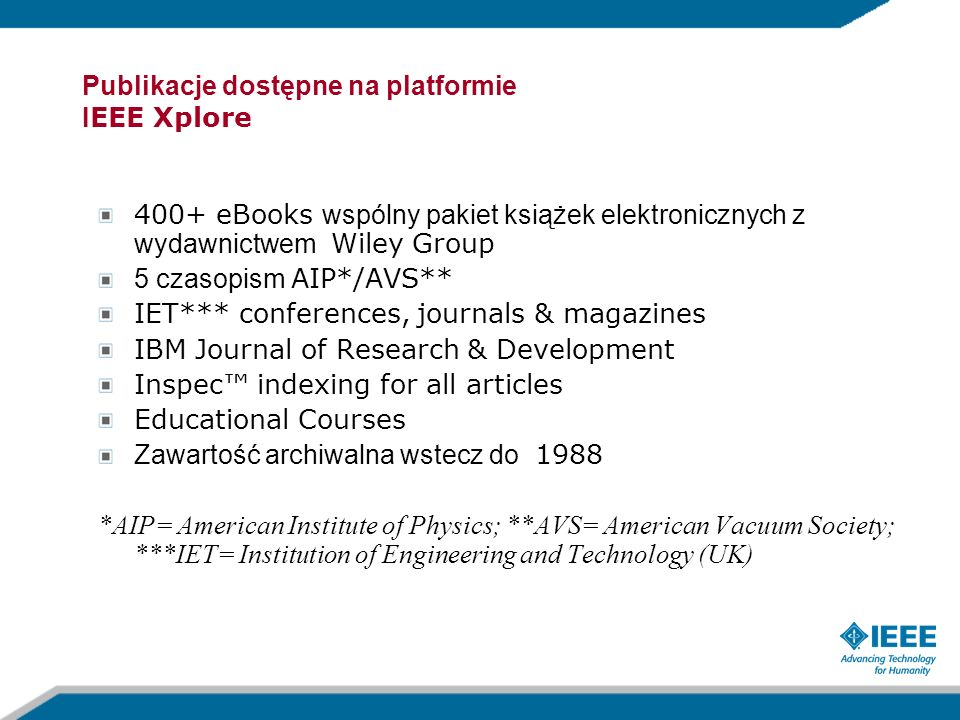 400+ eBooks wspólny pakiet książek elektronicznych z wydawnictwem Wiley Group 5 czasopism AIP*/AVS** IET*** conferences, journals & magazines IBM Jour