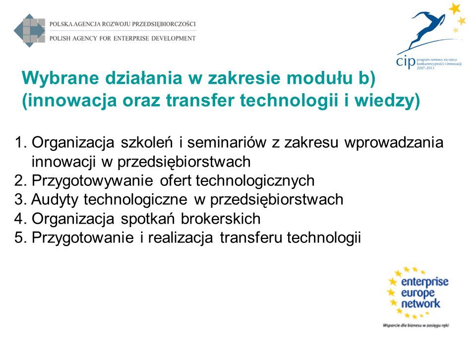 Wybrane działania w zakresie modułu b) (innowacja oraz transfer technologii i wiedzy) 1. Organizacja szkoleń i seminariów z zakresu wprowadzania innow