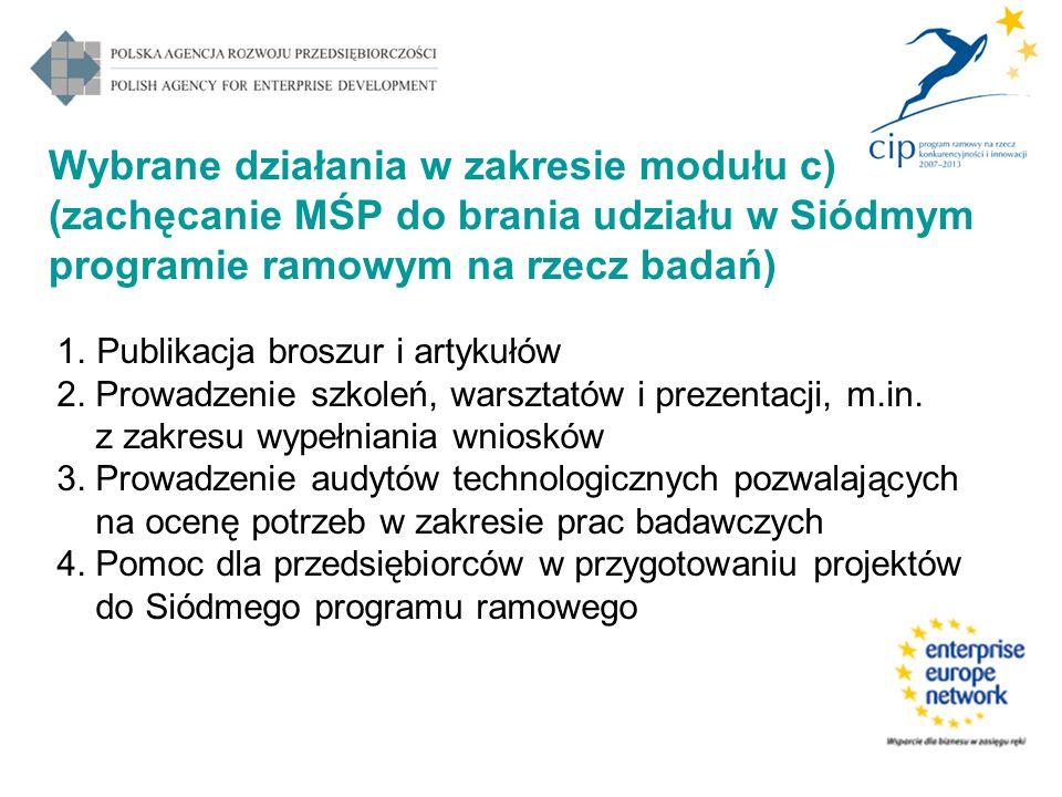 Wybrane działania w zakresie modułu c) (zachęcanie MŚP do brania udziału w Siódmym programie ramowym na rzecz badań) 1.Publikacja broszur i artykułów 2.