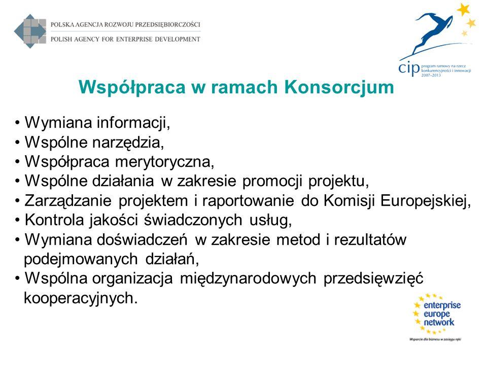 Współpraca w ramach Konsorcjum Wymiana informacji, Wspólne narzędzia, Współpraca merytoryczna, Wspólne działania w zakresie promocji projektu, Zarządz