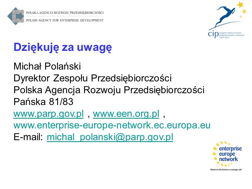 Dziękuję za uwagę Michał Polański Dyrektor Zespołu Przedsiębiorczości Polska Agencja Rozwoju Przedsiębiorczości Pańska 81/83 www.parp.gov.plwww.parp.g