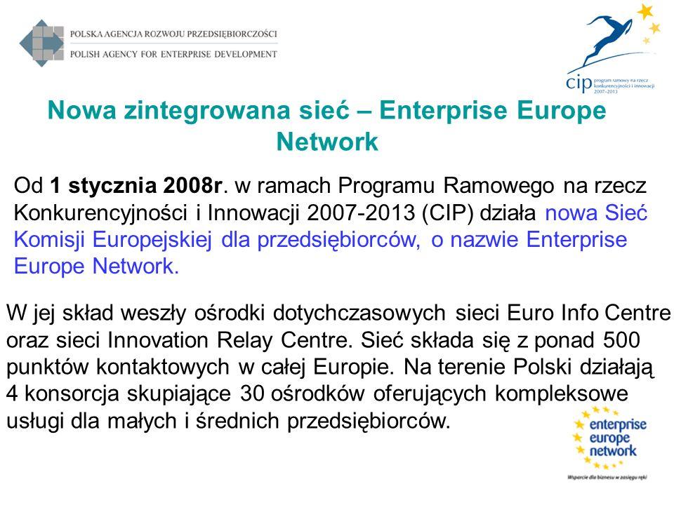 Nowa zintegrowana sieć – Enterprise Europe Network Od 1 stycznia 2008r. w ramach Programu Ramowego na rzecz Konkurencyjności i Innowacji 2007-2013 (CI