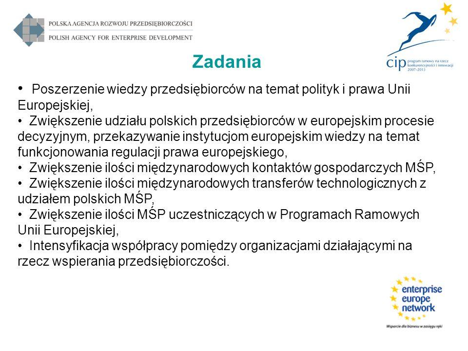 Poszerzenie wiedzy przedsiębiorców na temat polityk i prawa Unii Europejskiej, Zwiększenie udziału polskich przedsiębiorców w europejskim procesie decyzyjnym, przekazywanie instytucjom europejskim wiedzy na temat funkcjonowania regulacji prawa europejskiego, Zwiększenie ilości międzynarodowych kontaktów gospodarczych MŚP, Zwiększenie ilości międzynarodowych transferów technologicznych z udziałem polskich MŚP, Zwiększenie ilości MŚP uczestniczących w Programach Ramowych Unii Europejskiej, Intensyfikacja współpracy pomiędzy organizacjami działającymi na rzecz wspierania przedsiębiorczości.