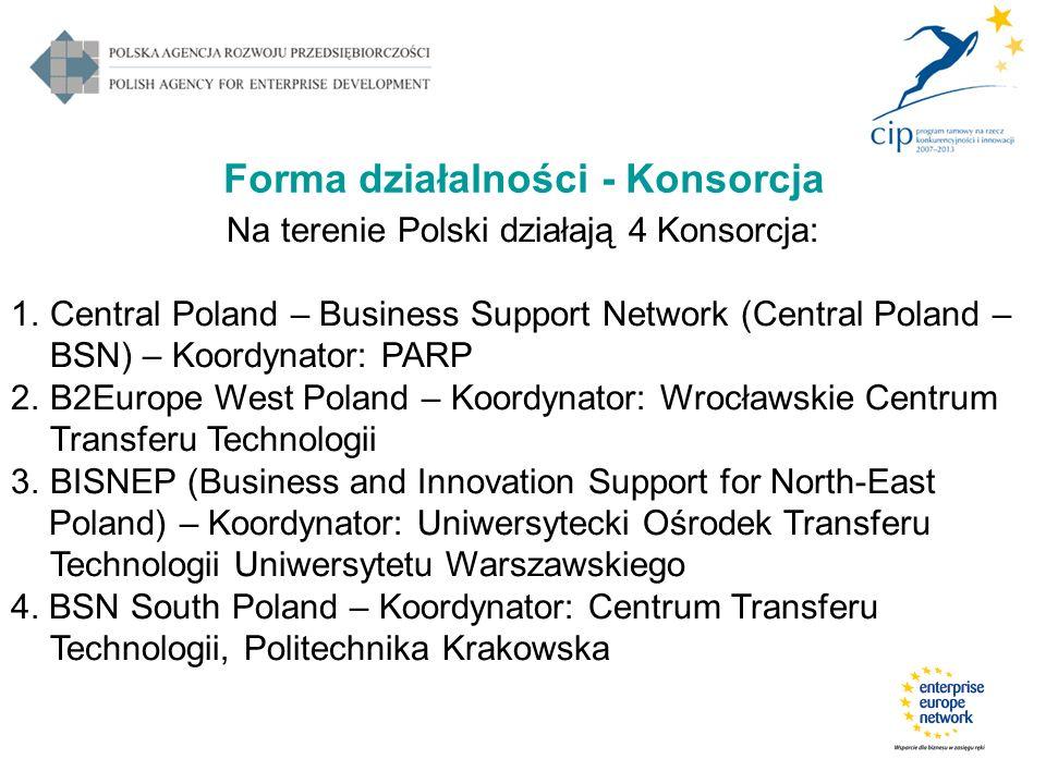 Forma działalności - Konsorcja Na terenie Polski działają 4 Konsorcja: 1.Central Poland – Business Support Network (Central Poland – BSN) – Koordynato