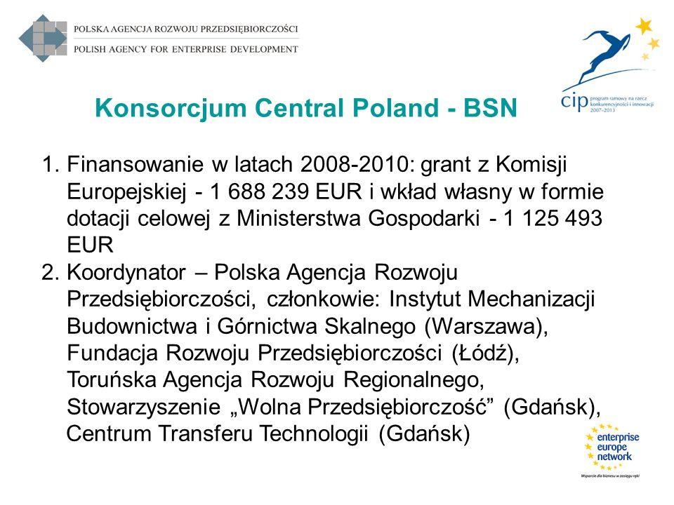 Konsorcjum Central Poland - BSN 1.Finansowanie w latach 2008-2010: grant z Komisji Europejskiej - 1 688 239 EUR i wkład własny w formie dotacji celowe