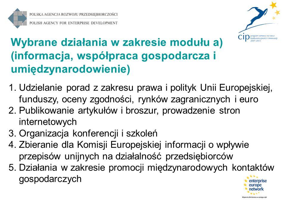 Wybrane działania w zakresie modułu a) (informacja, współpraca gospodarcza i umiędzynarodowienie) 1. Udzielanie porad z zakresu prawa i polityk Unii E
