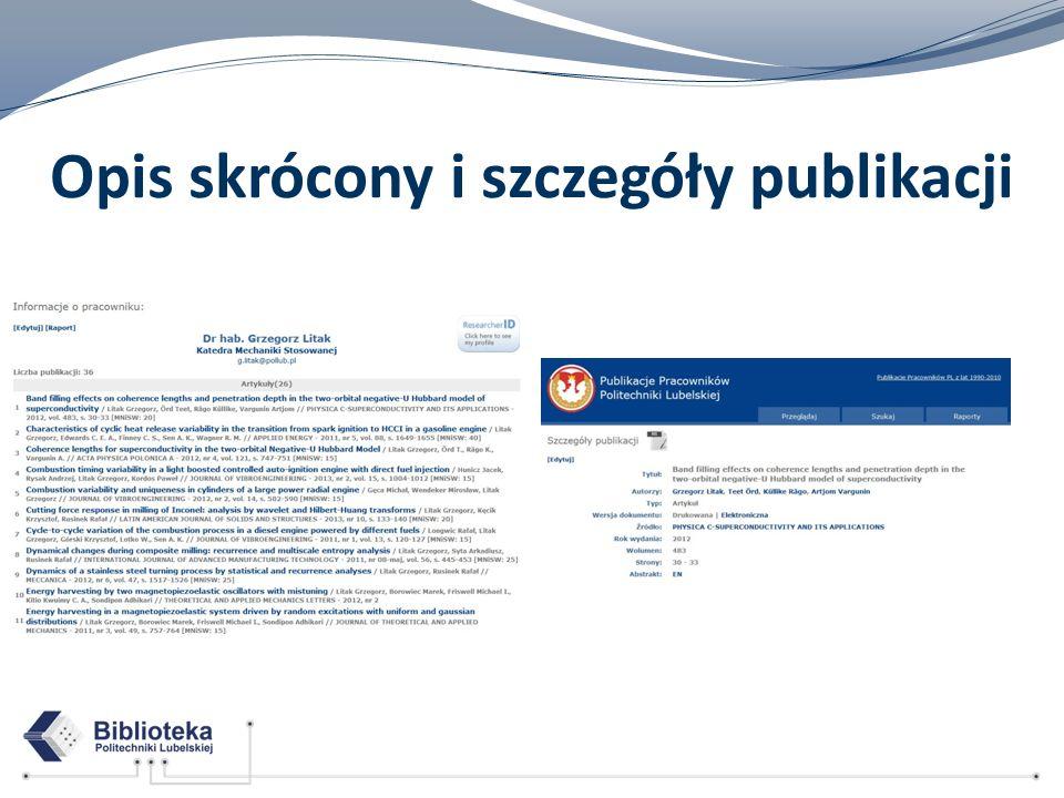 Opis skrócony i szczegóły publikacji