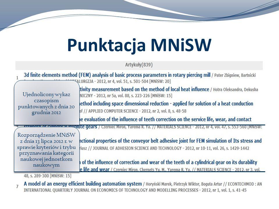 Punktacja MNiSW Ujednolicony wykaz czasopism punktowanych z dnia 20 grudnia 2012 Rozporządzenie MNiSW z dnia 13 lipca 2012 r. w sprawie kryteriów i tr