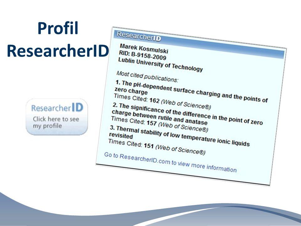 Profil ResearcherID