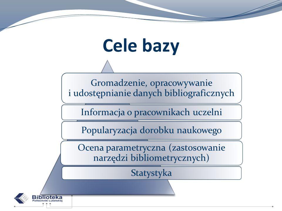 Cele bazy Gromadzenie, opracowywanie i udostępnianie danych bibliograficznych Informacja o pracownikach uczelni Popularyzacja dorobku naukowego Ocena