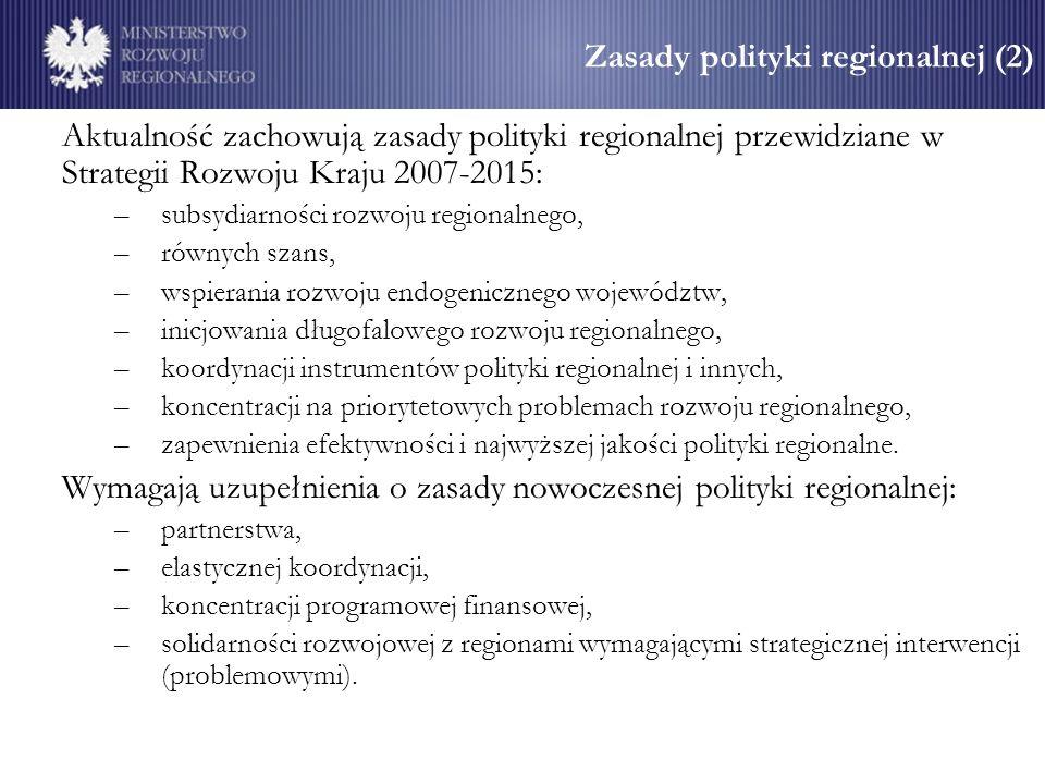 Zasady polityki regionalnej (2) Aktualność zachowują zasady polityki regionalnej przewidziane w Strategii Rozwoju Kraju 2007-2015: –subsydiarności rozwoju regionalnego, –równych szans, –wspierania rozwoju endogenicznego województw, –inicjowania długofalowego rozwoju regionalnego, –koordynacji instrumentów polityki regionalnej i innych, –koncentracji na priorytetowych problemach rozwoju regionalnego, –zapewnienia efektywności i najwyższej jakości polityki regionalne.