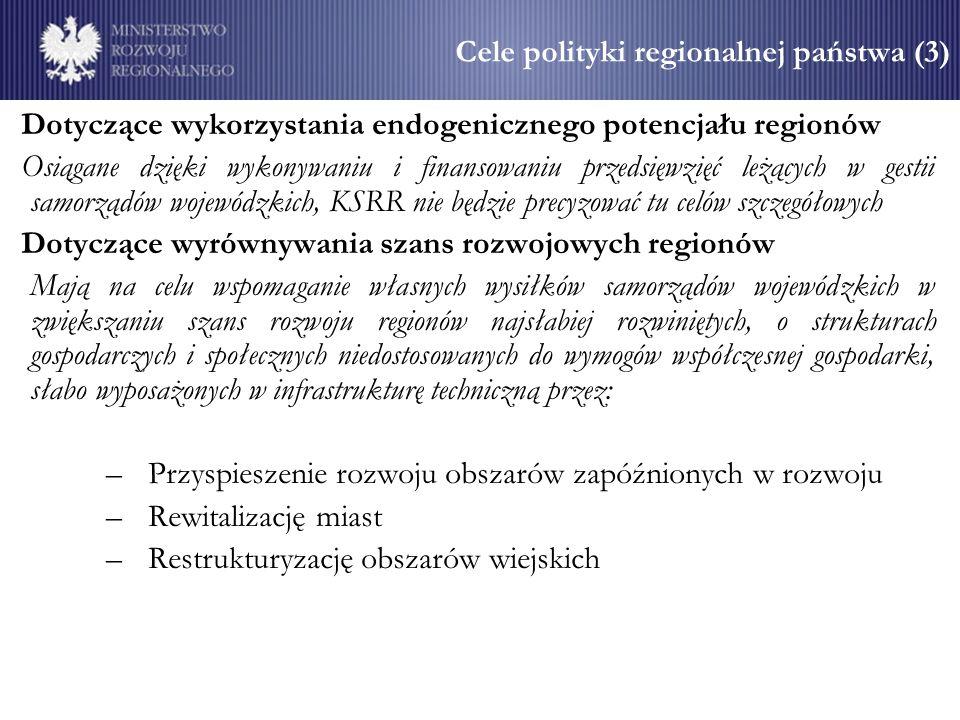 Cele polityki regionalnej państwa (3) Dotyczące wykorzystania endogenicznego potencjału regionów Osiągane dzięki wykonywaniu i finansowaniu przedsięwzięć leżących w gestii samorządów wojewódzkich, KSRR nie będzie precyzować tu celów szczegółowych Dotyczące wyrównywania szans rozwojowych regionów Mają na celu wspomaganie własnych wysiłków samorządów wojewódzkich w zwiększaniu szans rozwoju regionów najsłabiej rozwiniętych, o strukturach gospodarczych i społecznych niedostosowanych do wymogów współczesnej gospodarki, słabo wyposażonych w infrastrukturę techniczną przez: –Przyspieszenie rozwoju obszarów zapóźnionych w rozwoju –Rewitalizację miast –Restrukturyzację obszarów wiejskich