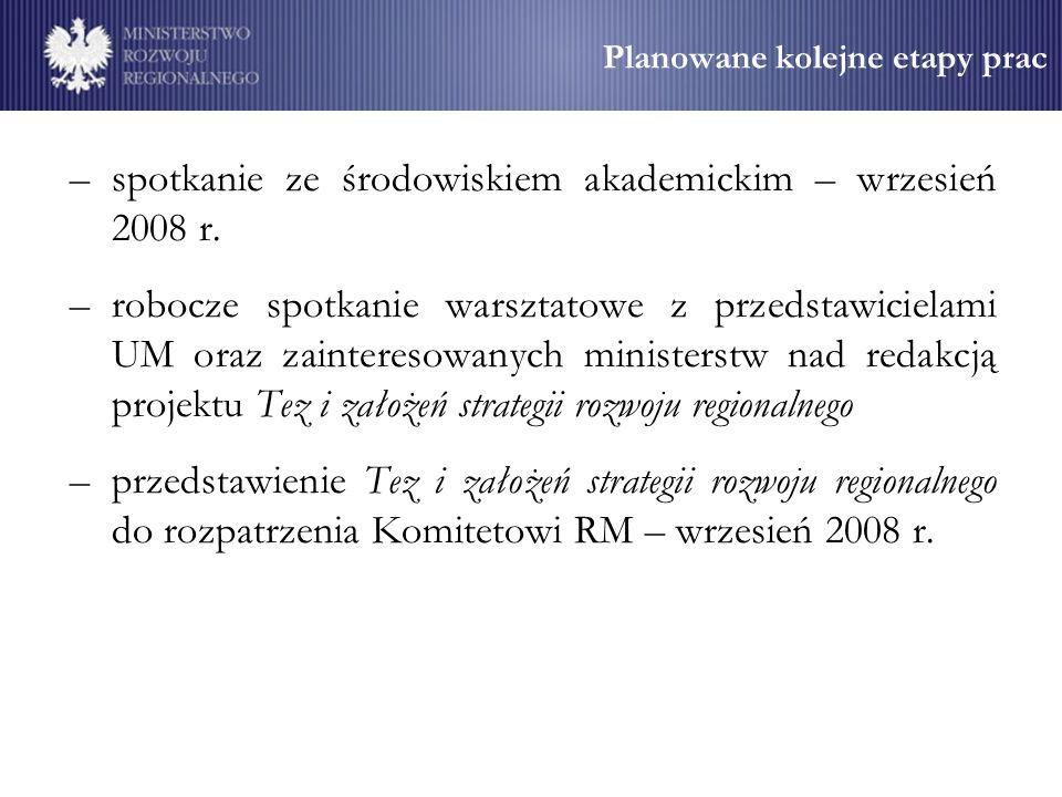 Planowane kolejne etapy prac –spotkanie ze środowiskiem akademickim – wrzesień 2008 r.