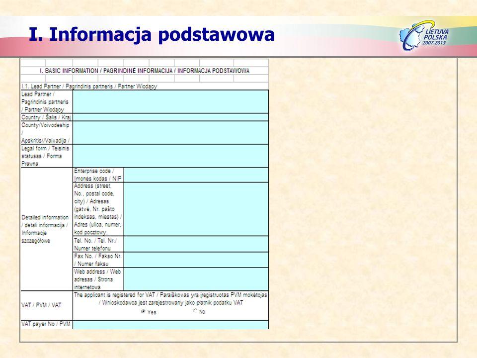 I. Informacja podstawowa