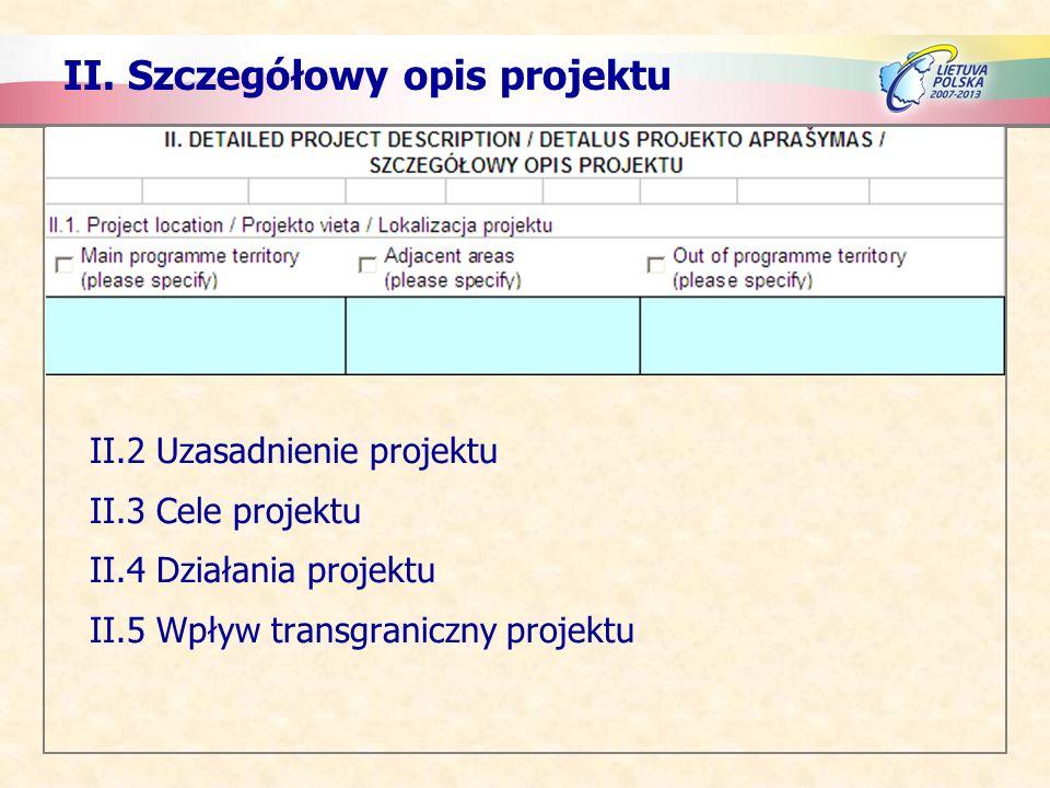 II. Szczegółowy opis projektu II.2 Uzasadnienie projektu II.3 Cele projektu II.4 Działania projektu II.5 Wpływ transgraniczny projektu