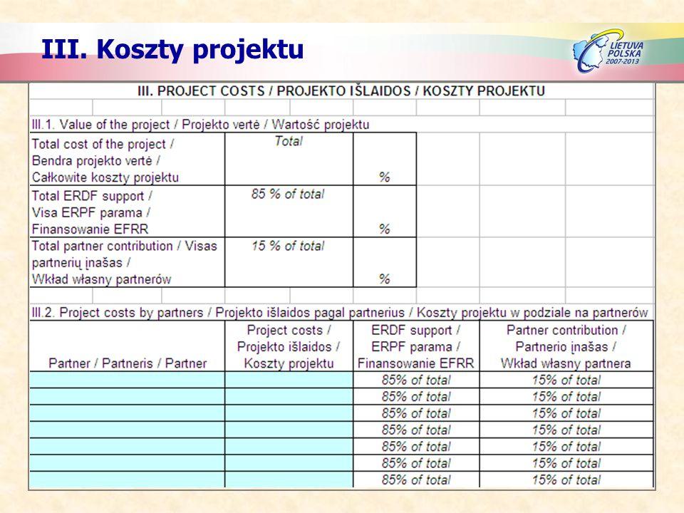 III. Koszty projektu