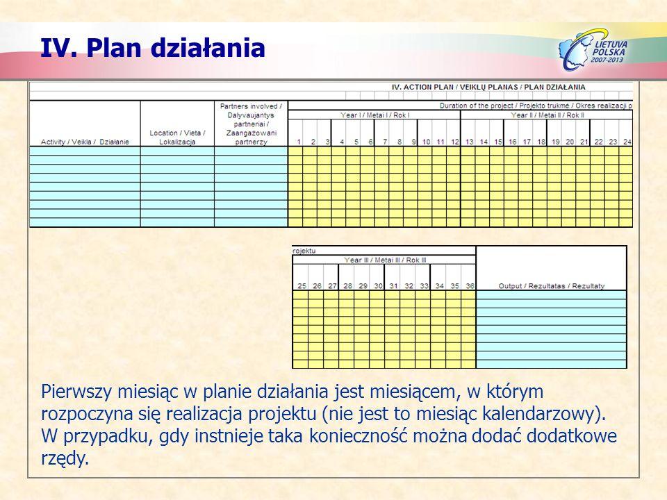IV. Plan działania Pierwszy miesiąc w planie działania jest miesiącem, w którym rozpoczyna się realizacja projektu (nie jest to miesiąc kalendarzowy).