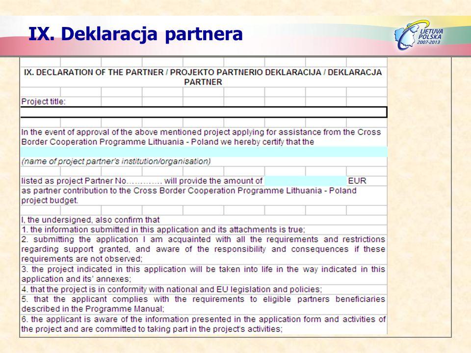 IX. Deklaracja partnera