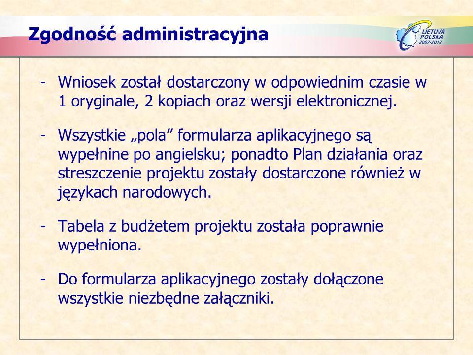 Zgodność administracyjna -Wniosek został dostarczony w odpowiednim czasie w 1 oryginale, 2 kopiach oraz wersji elektronicznej.