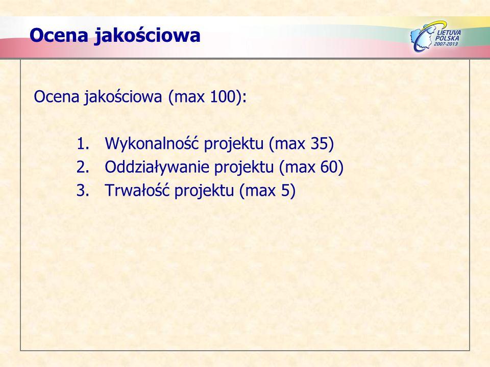 Ocena jakościowa Ocena jakościowa (max 100): 1.Wykonalność projektu (max 35) 2.Oddziaływanie projektu (max 60) 3.Trwałość projektu (max 5)