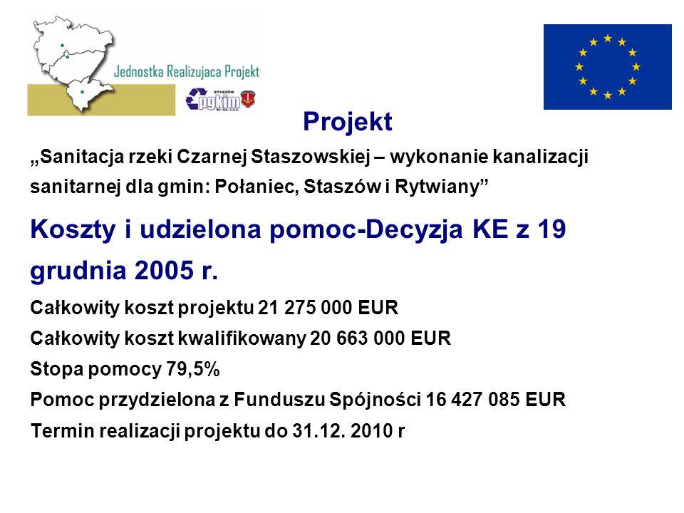 Projekt Sanitacja rzeki Czarnej Staszowskiej – wykonanie kanalizacji sanitarnej dla gmin: Połaniec, Staszów i Rytwiany Koszty i udzielona pomoc-Decyzj
