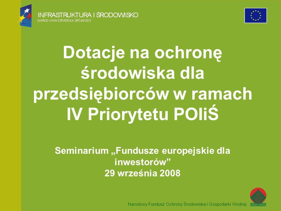 Narodowy Fundusz Ochrony Środowiska i Gospodarki Wodnej Dotacje na ochronę środowiska dla przedsiębiorców w ramach IV Priorytetu POIiŚ Seminarium Fundusze europejskie dla inwestorów 29 września 2008 Narodowy Fundusz Ochrony Środowiska i Gospodarki Wodnej
