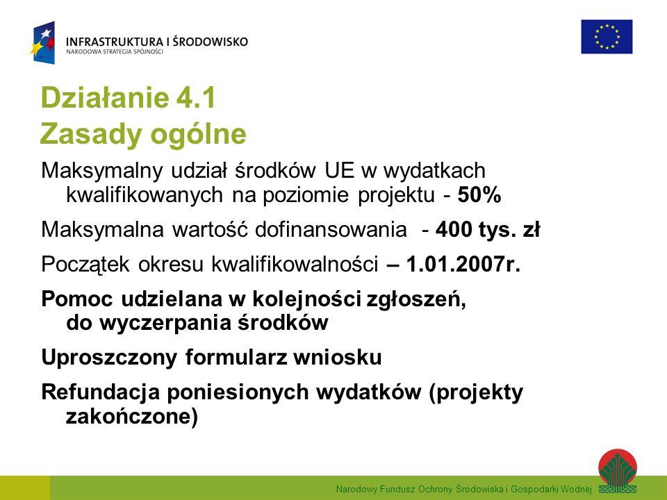 Narodowy Fundusz Ochrony Środowiska i Gospodarki Wodnej Działanie 4.1 Zasady ogólne Maksymalny udział środków UE w wydatkach kwalifikowanych na poziomie projektu - 50% Maksymalna wartość dofinansowania - 400 tys.