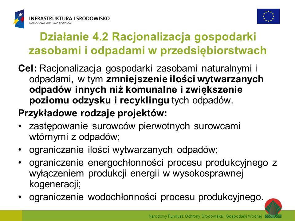 Narodowy Fundusz Ochrony Środowiska i Gospodarki Wodnej Działanie 4.2 Racjonalizacja gospodarki zasobami i odpadami w przedsiębiorstwach Cel: Racjonalizacja gospodarki zasobami naturalnymi i odpadami, w tym zmniejszenie ilości wytwarzanych odpadów innych niż komunalne i zwiększenie poziomu odzysku i recyklingu tych odpadów.
