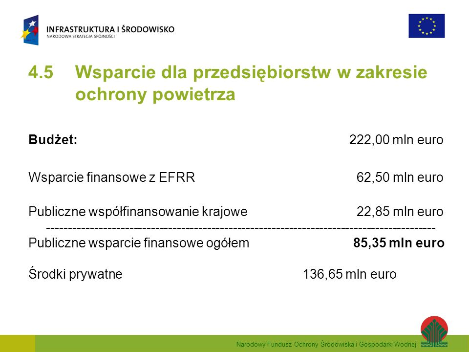 Narodowy Fundusz Ochrony Środowiska i Gospodarki Wodnej 4.5 Wsparcie dla przedsiębiorstw w zakresie ochrony powietrza Budżet: 222,00 mln euro Wsparcie finansowe z EFRR 62,50 mln euro Publiczne współfinansowanie krajowe 22,85 mln euro ------------------------------------------------------------------------------------------ Publiczne wsparcie finansowe ogółem 85,35 mln euro Środki prywatne 136,65 mln euro
