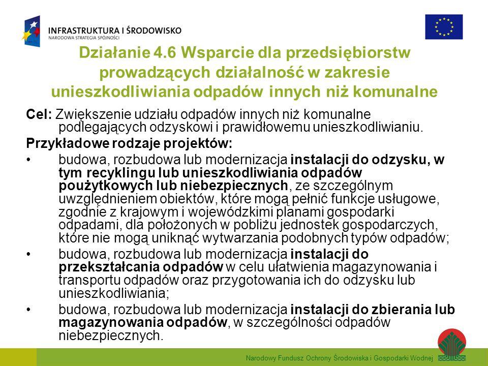 Narodowy Fundusz Ochrony Środowiska i Gospodarki Wodnej Działanie 4.6 Wsparcie dla przedsiębiorstw prowadzących działalność w zakresie unieszkodliwiania odpadów innych niż komunalne Cel: Zwiększenie udziału odpadów innych niż komunalne podlegających odzyskowi i prawidłowemu unieszkodliwianiu.