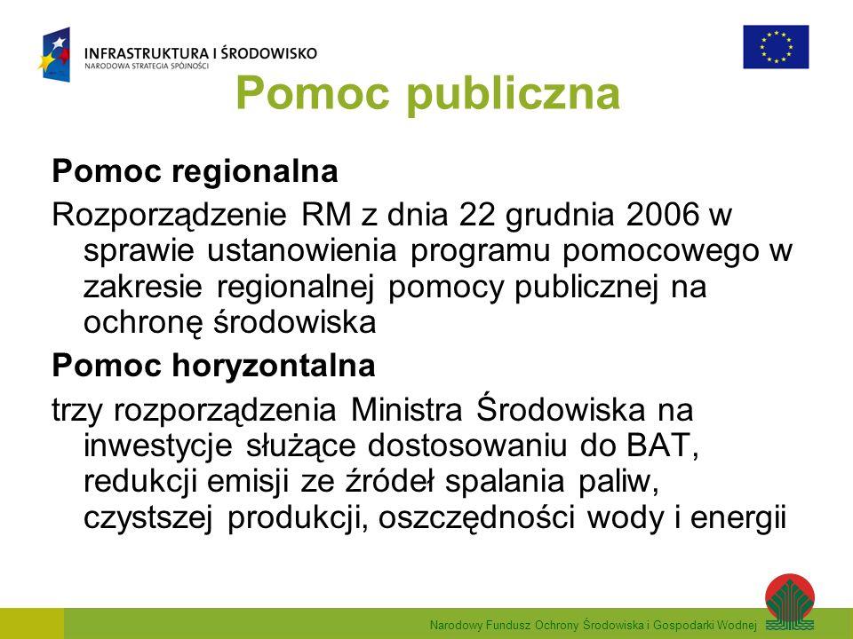 Narodowy Fundusz Ochrony Środowiska i Gospodarki Wodnej Pomoc publiczna Pomoc regionalna Rozporządzenie RM z dnia 22 grudnia 2006 w sprawie ustanowienia programu pomocowego w zakresie regionalnej pomocy publicznej na ochronę środowiska Pomoc horyzontalna trzy rozporządzenia Ministra Środowiska na inwestycje służące dostosowaniu do BAT, redukcji emisji ze źródeł spalania paliw, czystszej produkcji, oszczędności wody i energii