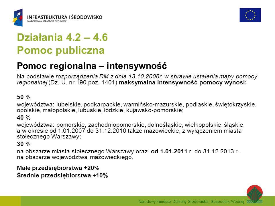 Narodowy Fundusz Ochrony Środowiska i Gospodarki Wodnej Działania 4.2 – 4.6 Pomoc publiczna Pomoc regionalna – intensywność Na podstawie rozporządzenia RM z dnia 13.10.2006r.