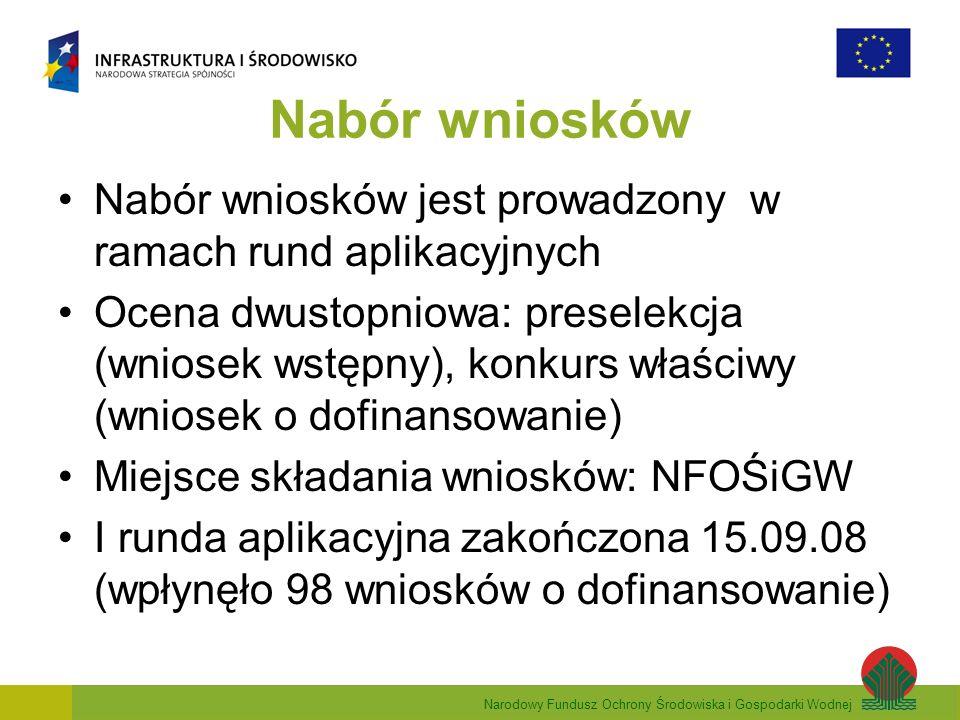 Narodowy Fundusz Ochrony Środowiska i Gospodarki Wodnej Nabór wniosków Nabór wniosków jest prowadzony w ramach rund aplikacyjnych Ocena dwustopniowa: preselekcja (wniosek wstępny), konkurs właściwy (wniosek o dofinansowanie) Miejsce składania wniosków: NFOŚiGW I runda aplikacyjna zakończona 15.09.08 (wpłynęło 98 wniosków o dofinansowanie)
