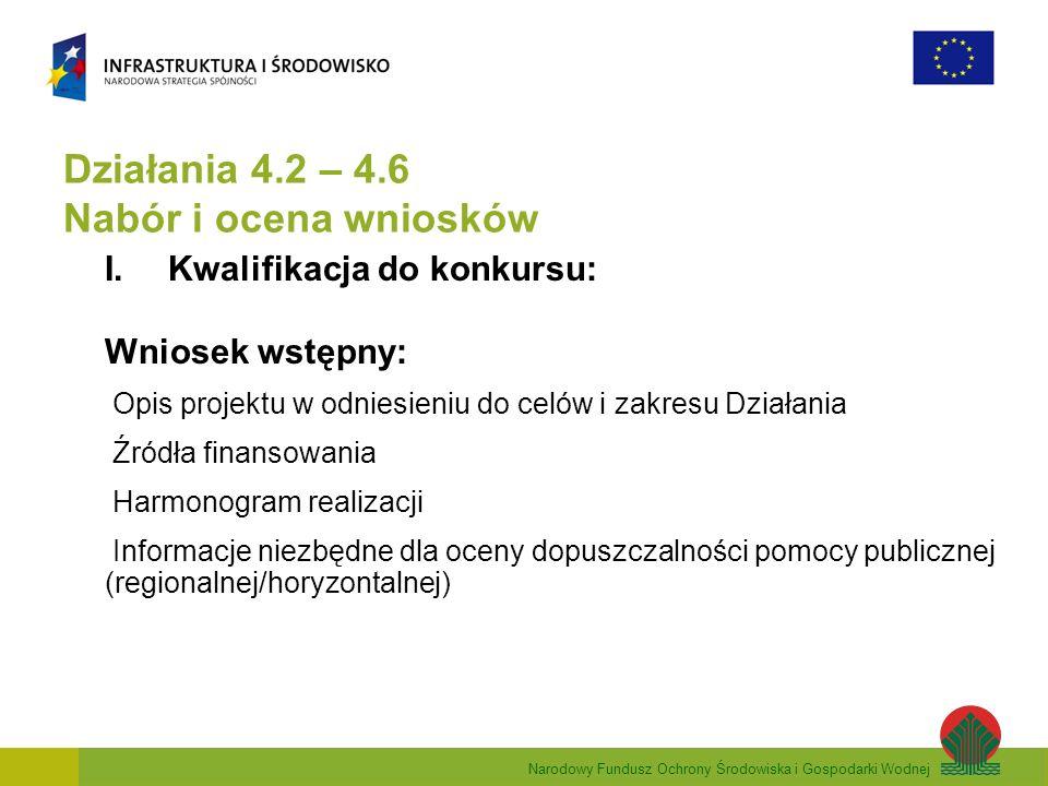 Narodowy Fundusz Ochrony Środowiska i Gospodarki Wodnej Działania 4.2 – 4.6 Nabór i ocena wniosków I.