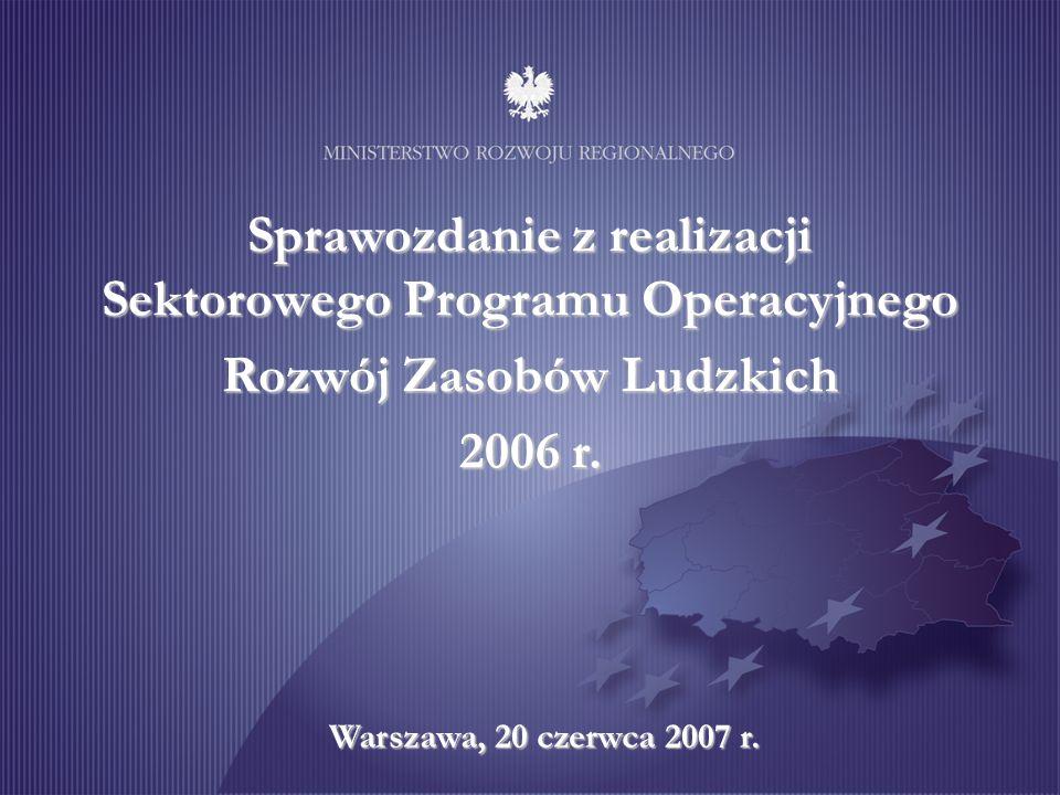 Stan realizacji projektów w ramach SPO RZL Beneficjenci ostateczni Programu Wskaźniki realizacji Programu Przeprowadzone kontrole Informacja i promocja Napotkane utrudnienia i kluczowe działania SPO RZL na tle innych PO Sprawozdanie z realizacji SPO RZL za 2006 r.