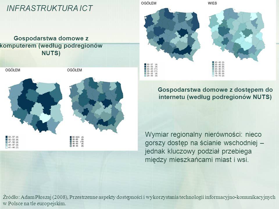 Gospodarstwa domowe z dostępem do internetu (według podregionów NUTS) Źródło: Adam Płoszaj (2008), Przestrzenne aspekty dostępności i wykorzystania te