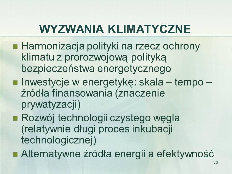 20 WYZWANIA KLIMATYCZNE Harmonizacja polityki na rzecz ochrony klimatu z prorozwojową polityką bezpieczeństwa energetycznego Inwestycje w energetykę:
