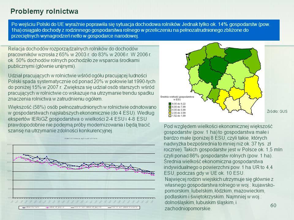 60 Problemy rolnictwa Po wejściu Polski do UE wyraźnie poprawiła się sytuacja dochodowa rolników. Jednak tylko ok. 14% gospodarstw (pow. 1ha) osiągało
