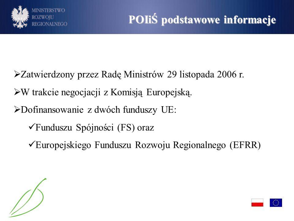 Zatwierdzony przez Radę Ministrów 29 listopada 2006 r. W trakcie negocjacji z Komisją Europejską. Dofinansowanie z dwóch funduszy UE: Funduszu Spójnoś