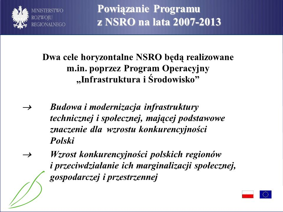 PO Infrastruktura i Środowisko Procedury wyboru projektów I.