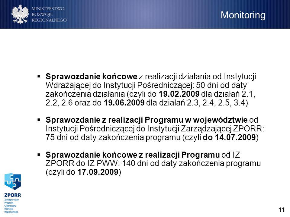 11 Sprawozdanie końcowe z realizacji działania od Instytucji Wdrażającej do Instytucji Pośredniczącej: 50 dni od daty zakończenia działania (czyli do 19.02.2009 dla działań 2.1, 2.2, 2.6 oraz do 19.06.2009 dla działań 2.3, 2.4, 2.5, 3.4) Sprawozdanie z realizacji Programu w województwie od Instytucji Pośredniczącej do Instytucji Zarządzającej ZPORR: 75 dni od daty zakończenia programu (czyli do 14.07.2009) Sprawozdanie końcowe z realizacji Programu od IZ ZPORR do IZ PWW: 140 dni od daty zakończenia programu (czyli do 17.09.2009) Monitoring